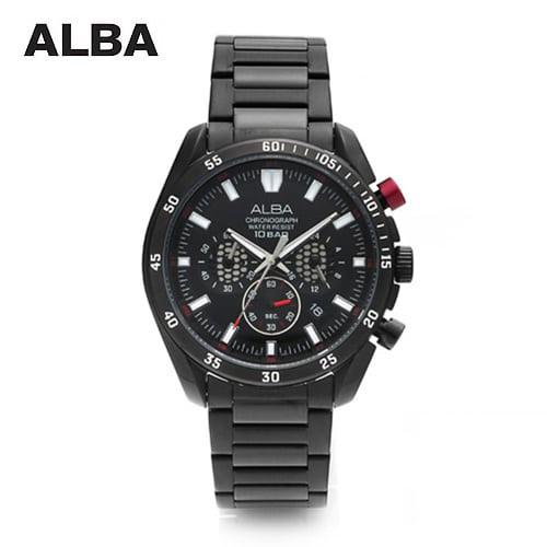 [알바시계 ALBA시계] AT3541X 크로노그래프 남성 블랙메탈시계 43mm