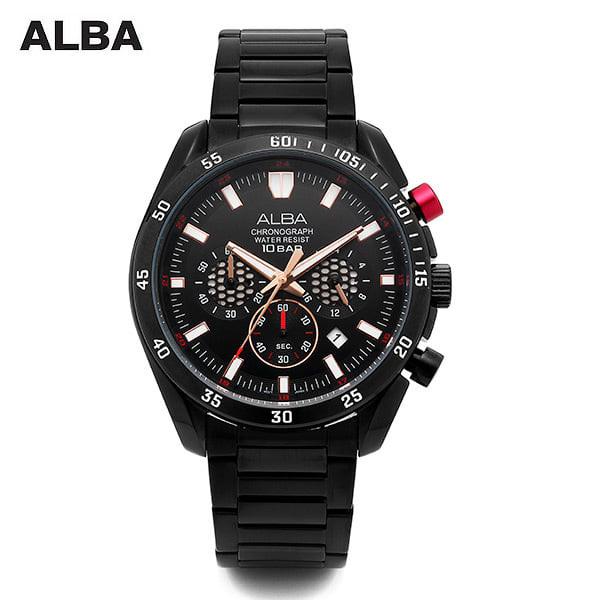 [알바시계 ALBA시계] AT3543X 크로노그래프 남성 블랙 메탈시계 45mm