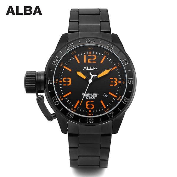 [알바시계 ALBA시계] AXHK21X1 스크류용두 남성 블랙 메탈시계 5.5mm x 4.9mm