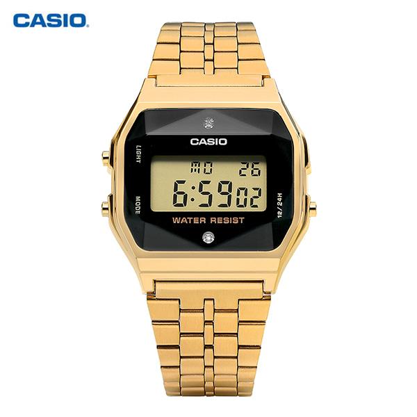 [카시오시계 CASIO] A159WGED-1DF (A159WGED-1) / 전자 디지털 빈티지 금장 남녀공용 메탈시계 36X33mm 타임메카