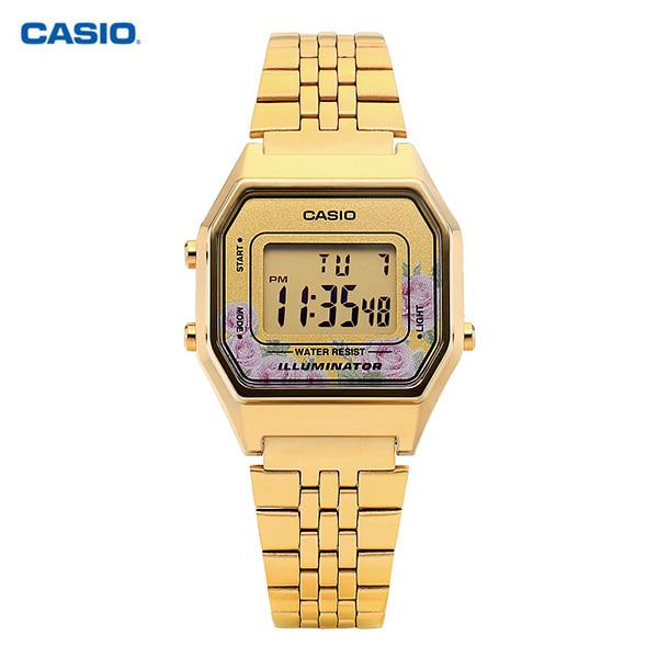 [카시오시계 CASIO] LA680WGA-4CDF (LA680WGA-4C) / 금장 빈티지플라워 디지털 여성 메탈시계 42mm 타임메카