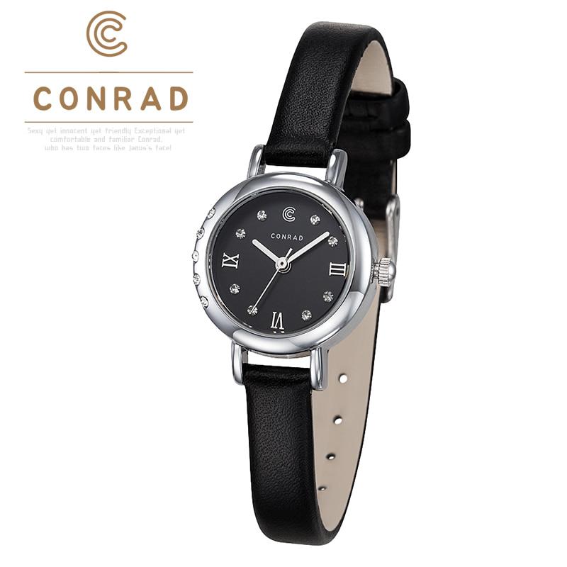 [콘라드시계 CONRAD] CD001WL-WTBK 여성용 가죽밴드 22mm [한국본사정품]