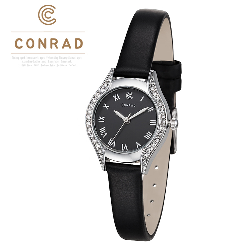 [콘라드시계 CONRAD] CD004WL-WTBK 여성용 가죽밴드 24mm [한국본사정품]