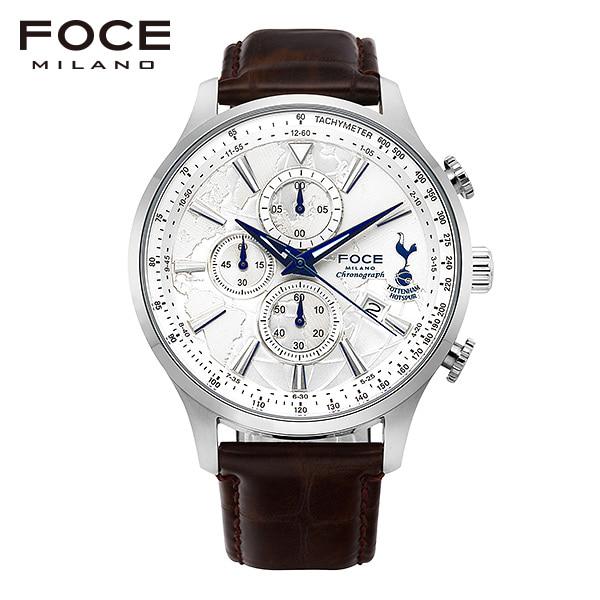 [포체 FOCE] FT1707L-WH 토트넘 Tottenham 신상 입고 남성용 가죽 시계 크로노그래프 46mm