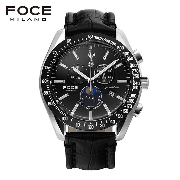 [포체 FOCE] FT2701L-BK 토트넘 Tottenham  신상 입고 남성용 가죽 시계 크로노그레프 문페이즈 45.5mm