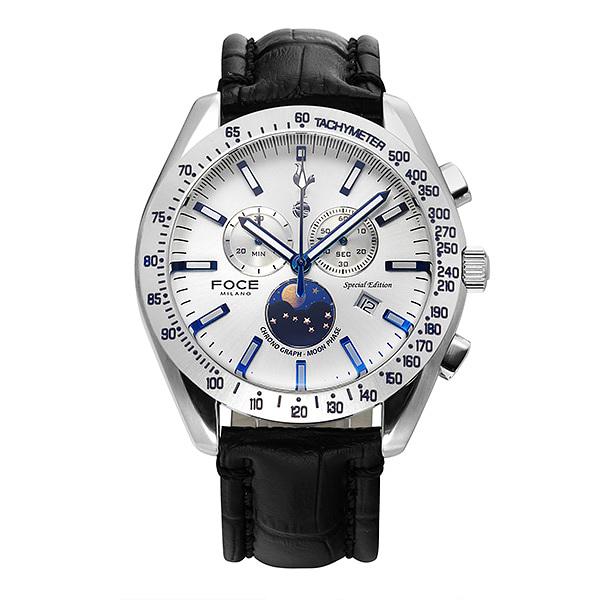 [포체 FOCE] FT2701L-WH 토트넘 Tottenham  신상 입고 남성용 가죽 시계 크로노그레프 문페이즈 45.5mm