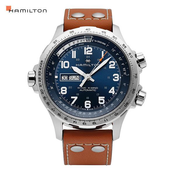 [해밀턴시계 HAMILTON] H77765541 / 카키 에비에이션(KHAKI AVIATION) X-Wind 오토매틱 남성 가죽시계 45mm 타임메카