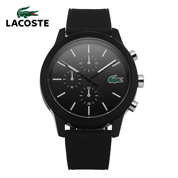 [라코스테시계 LACOSTE] 2010972 / 라코스테 12.12 크로노그래프 남성용 블랙 실리콘 시계 44mm 타임메카
