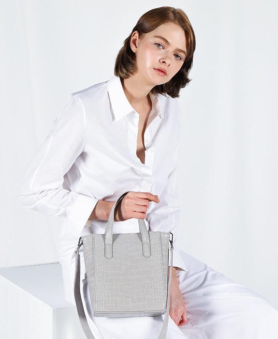 [록체 LOKCHE] 자넷 토트백 스몰 (LOK-0207)Janet Tote Bag Small -Light Gray 타임메카