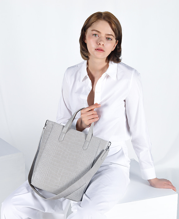 [록체 LOKCHE] 자넷 토트백 라지 (LOK-0307)Janet Tote Bag Large -Light Gray 타임메카