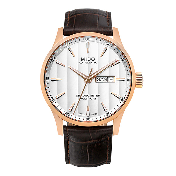[미도 MIDO] M038.431.36.031.00 (M0384313603100) / 멀티포트 Multifort 오토매틱 남성용 가죽시계 42mm