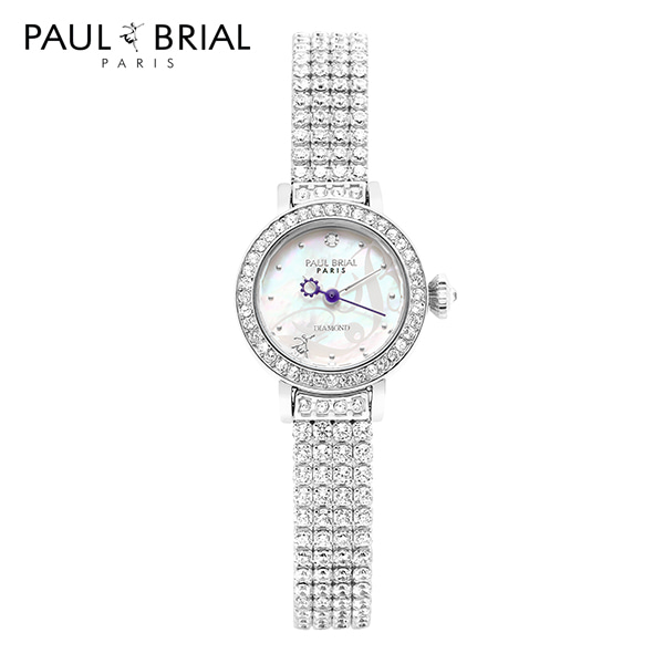 [폴브리알시계 PAULBRIAL] PB8025WT 낭트 브라스스틸 1POINT 다이아몬드 여성시계