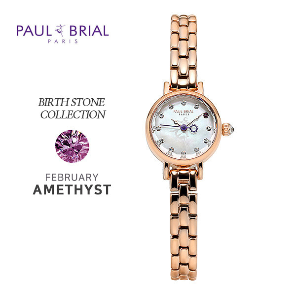 [폴브리알시계 PAULBRIAL] PB8030RG02 Birth Stone Watch 탄생석 2월 (자수정)여성용 메탈시계 20mm