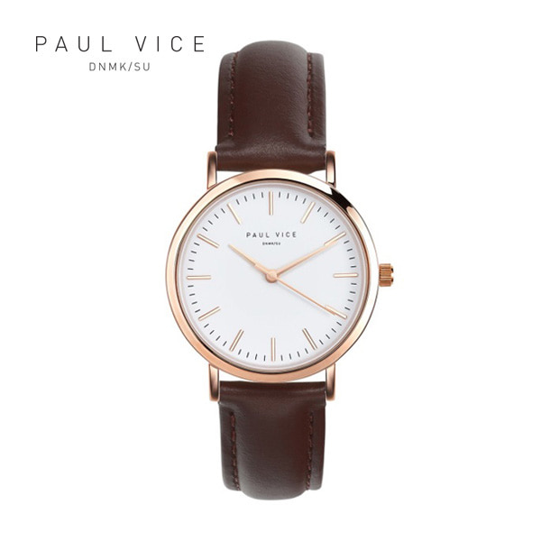 [폴바이스 PAULVICE] PV301BR Emma Collection White - Brown 엠마 컬렉션 32mm 여성시계