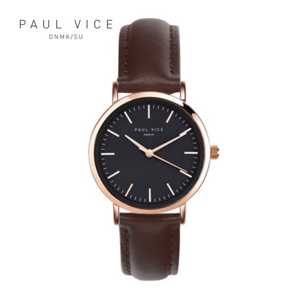 [폴바이스 PAULVICE] PV302BR Emma Collection Black - Brown 엠마 컬렉션 32mm 여성시계