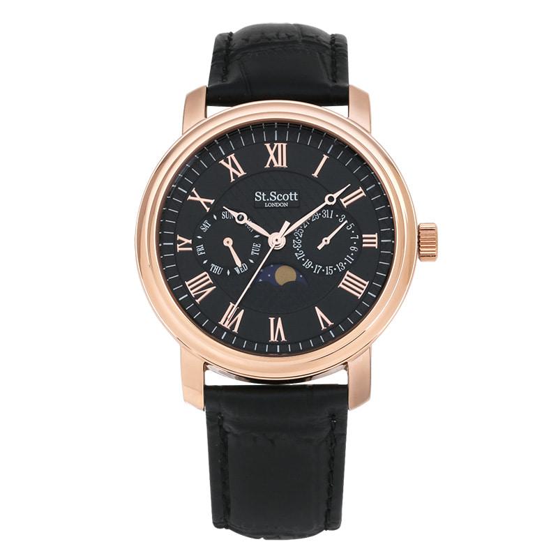 [세인트스코트 ST.SCOTT] ST5008RGBK 남성용 가죽 시계 40mm