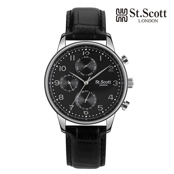 [세인트스코트 ST.SCOTT] ST5102L-SBB 남성용 가죽시계 42mm 타임메카