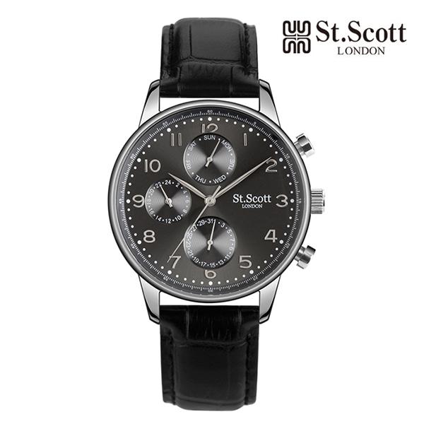 [세인트스코트 ST.SCOTT] ST5102L-SGB 남성용 가죽시계 42mm 타임메카