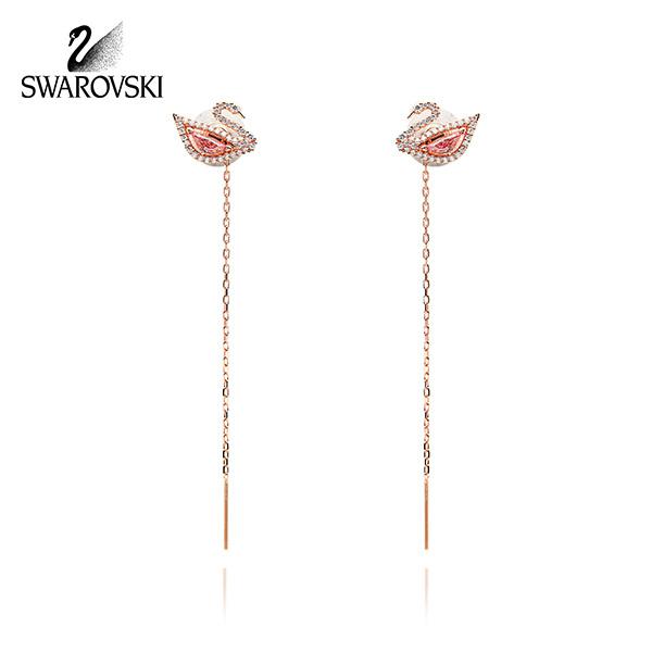 [스와로브스키 SWAROVSKI] 5469990 / DAZZLING SWAN 핑크스완 드롭 귀걸이