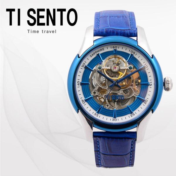 [티센토 TISENTO] TS60011BUBU /티센토 스켈레톤 오토매틱 블루가죽시계