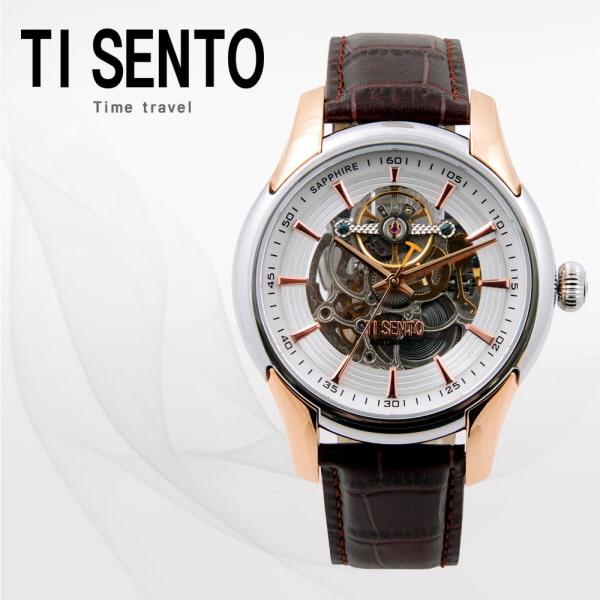 [티센토 TISENTO] TS60011WTCH /티센토 스켈레톤 오토매틱 브라운가죽시계