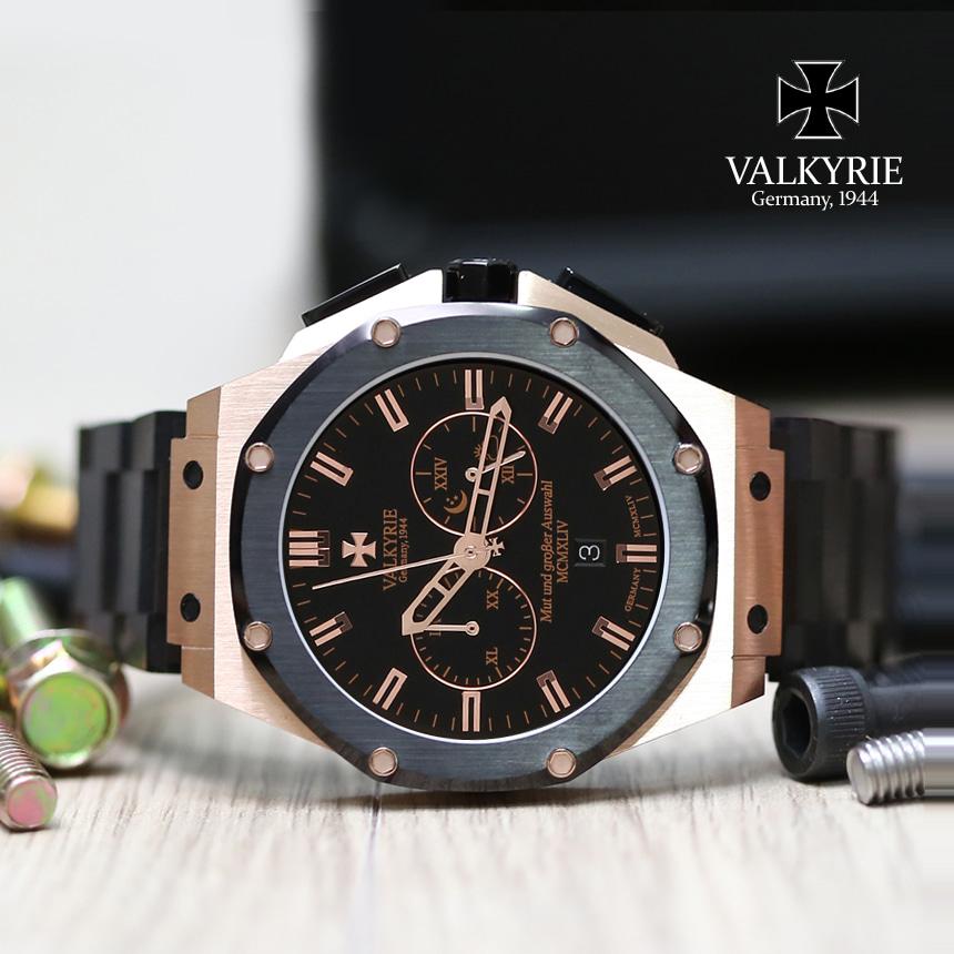 [발키리 VALKYRIE] V-7070GBBM 다스크로노 옥타곤(골드블랙+블랙메탈밴드) +가죽밴드 타임메카