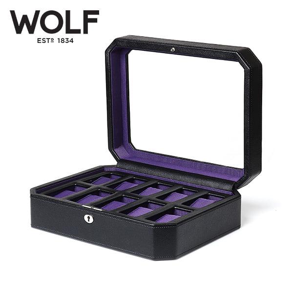 [울프 WOLF] 458403 (Windsor 10pc Watch Box Blk/Pur) / 시계보관함 Watch Cubbyhole