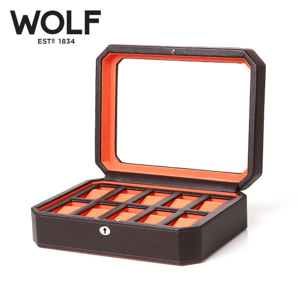 [울프 WOLF] 458406 (Windsor 10pc Watch Box Brw/Org) / 시계보관함 Watch Cubbyhole
