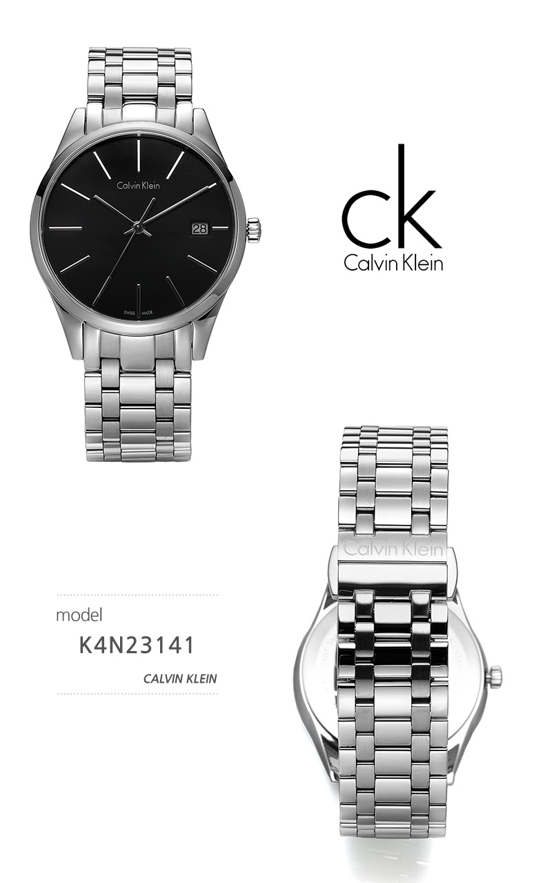캘빈클라인 CalvinKlein K4N23141 타임 Time 남녀공용 메탈시계 37mm