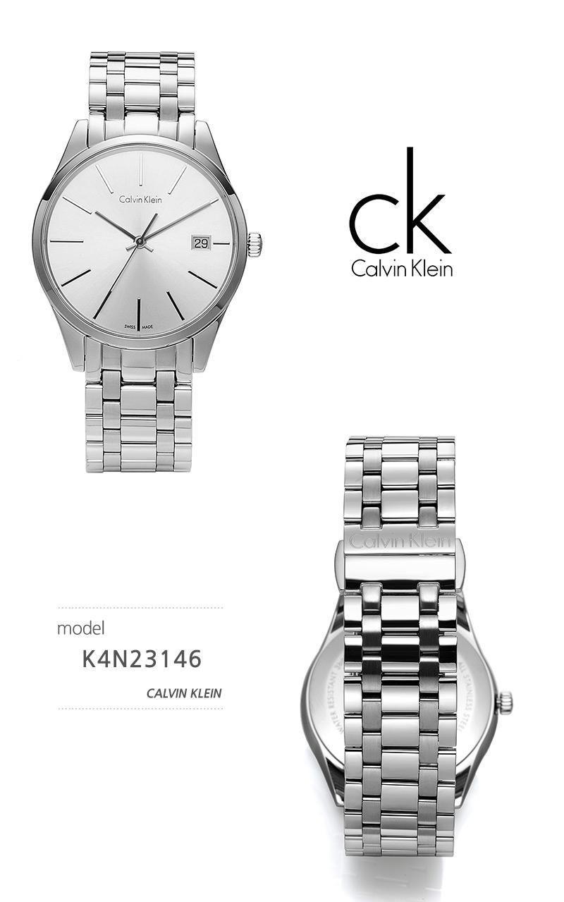 캘빈클라인 CalvinKlein K4N23146 타임 Time 남녀공용 메탈시계 37mm