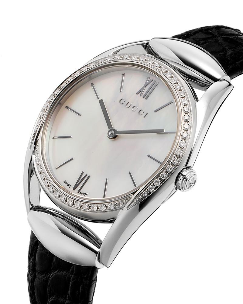 3951223956f Gucci Women s YA140506 Horsebit Diamond Black Leather Watch ...