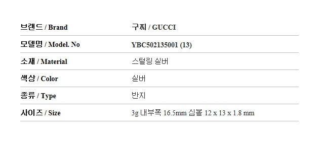 구찌(GUCCI) YBC502135001 BLIND FOR LOVE 실버 반지
